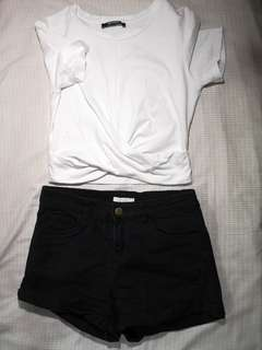 High waist black short
