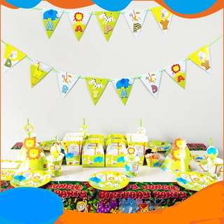 Zoo Animals Theme partY supplies - Happy Birthday Banner / party deco