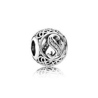 LF: Pandora Letter S silver charm with clear cubic zirconia
