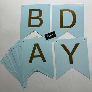 (Ins) Happy Birthday Cake Banner in Blue