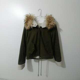 Sherpa Lined Army Green Coat