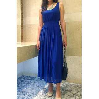 Blue Chiffon Long Dress