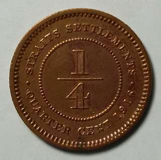 1/4 Cent Straits Settlements George V 1916 coin