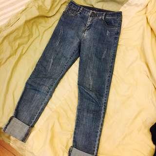 🚚 試穿一次❤️牛仔長褲 刷破 打摺牛仔 丹寧