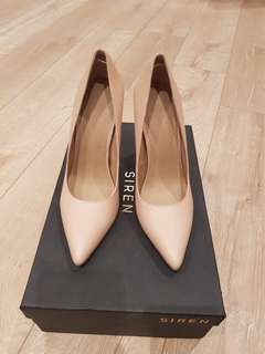 Siren Nude Snake Skin Genuine Leather Heels Size AU 5