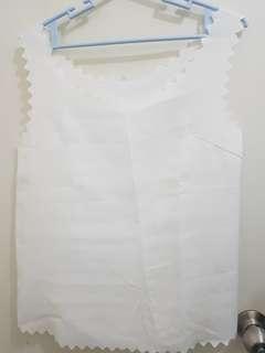 White Zigzag Trim Sleeveless Top