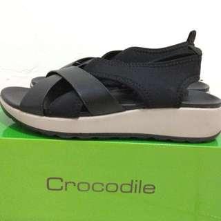 Crocodile Black Semi-Sandal