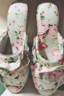 全新日本進口玫瑰花布造型室內拖鞋日本製