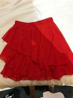 Red flowy skirt