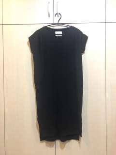 🚚 正韓黑綿質超短袖上衣,修身洋裝