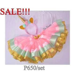 Fit 1-3 yo Unicorn inspired trim ribbon tutu skirt & unicorn headpiece