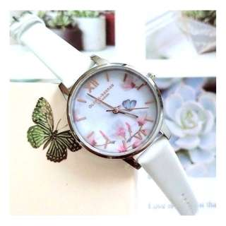 英國品牌 Olivia Burton London Watch 魔法花園 氣質百搭 女 手錶 真皮錶帶 花鳥蝴蝶 (OB08)