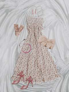 💐NEW Antique Rose Romantic Lolita Dress - English Rose Cream Floral Strappy Dress