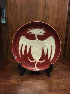 舊紅釉鳥紋碟(6.5寸)