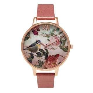 英國品牌 Olivia Burton London Watch 魔法花園 氣質百搭 女 手錶 真皮錶帶 花鳥蝴蝶 38mm (OB011)