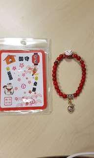 Red Fortune Cat Beads Bracelet