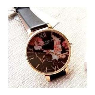 英國品牌 Olivia Burton London Watch 魔法花園 氣質百搭 女 手錶 真皮錶帶 花鳥蝴蝶 38mm (OB012)