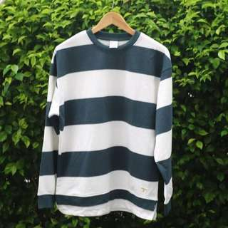 GIORDANO STRIPED SWEATSHIRT - WHITE GREEN