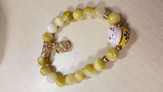 Fortune Cat Yellow Beads Bracelet
