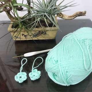 Handmade crochet flower keychain