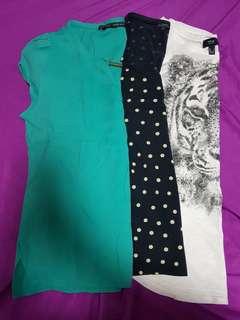 3 blouse set. Bundle. Zara Mango and Rusty Lopez