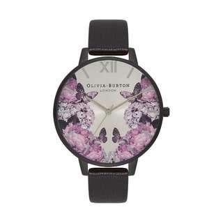 英國品牌 Olivia Burton London Watch 魔法花園 氣質百搭 女 手錶 真皮錶帶 花鳥蝴蝶 38mm (OB014)