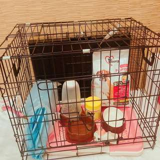 Dog cage with other accessories almost new