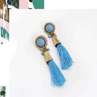 'Delilah' Bohemian Blue Tassel Earrings