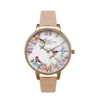 英國品牌 Olivia Burton London Watch 魔法花園 氣質百搭 女 手錶 真皮錶帶 花鳥蝴蝶 38mm (OB015)