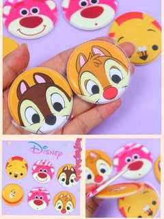 日本Chip n Dale 草莓紅 小熊維尼 圓形泡沫貼紙📮包郵