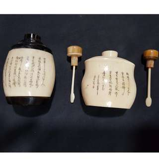 Rare Pair of Antique Chinese Natural Horn and Ivory Snuff Bottle with Characters and Poems