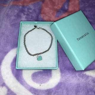 Tiffany 心形牌珠珠手鏈