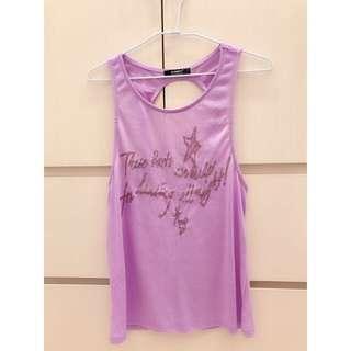 露背薄料背心-淺紫色