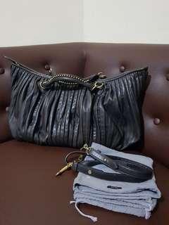 Authentic Miu Miu Black leather  Plisse Tote Bag