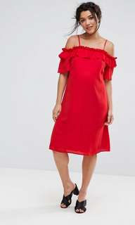 🚚 ASOS Maternity ruffle cold shoulder dress
