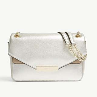 SANDRO YZA grained leather and suede shoulder bag