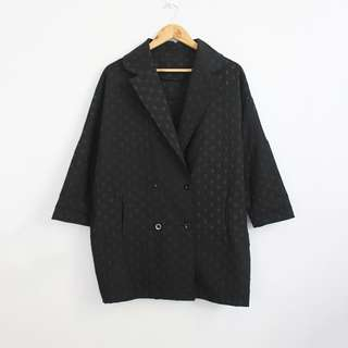 Korean Fashion Style Lightweight Black Textured Topper Coat Jacket