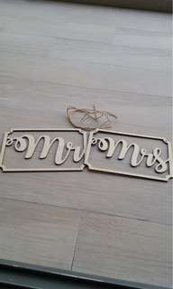 Wedding Signage/ Banner/ Decor - Mr and Mrs