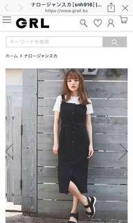 🚚 日本人氣品牌GRL 全新吊帶連身裙(黑)model:155cm 不含白T