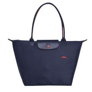 (瑞士新款-套裝)Longchamp Le Pliage 藍色長柄手袋連紅色小袋