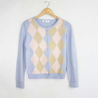 Vintage Style Pastel Diamond \ Design Cardigan Topper