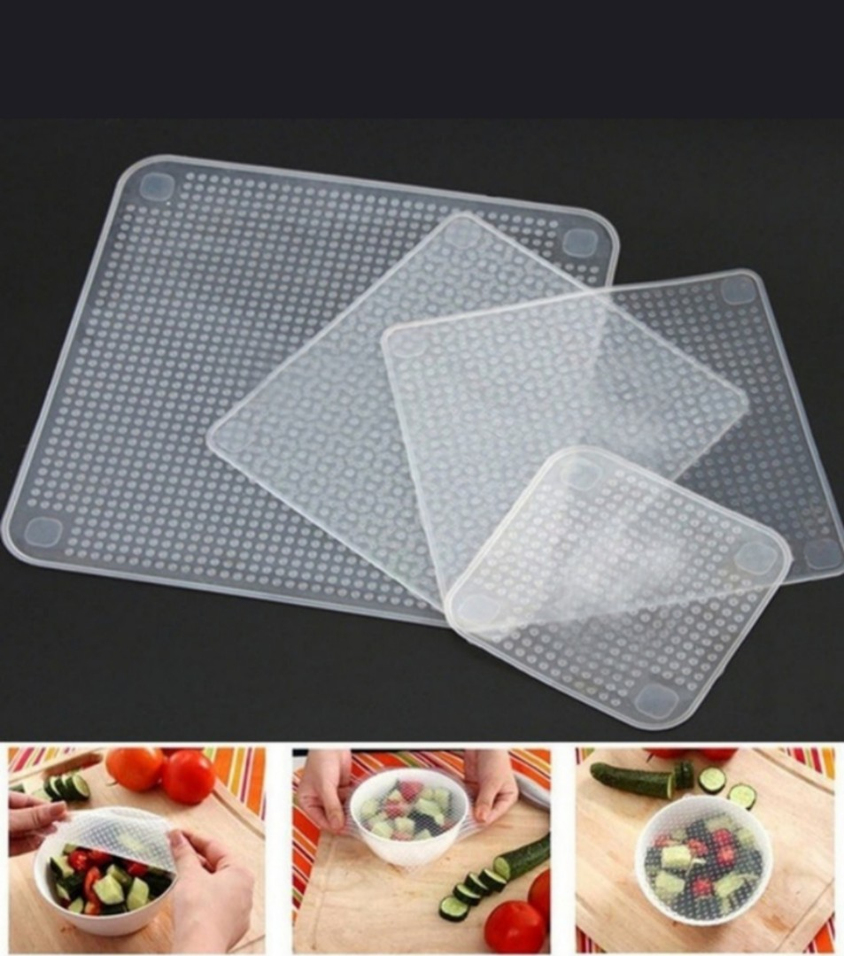4pcs silicon fresh food grade plastic wrap kitchen cooking cover lid