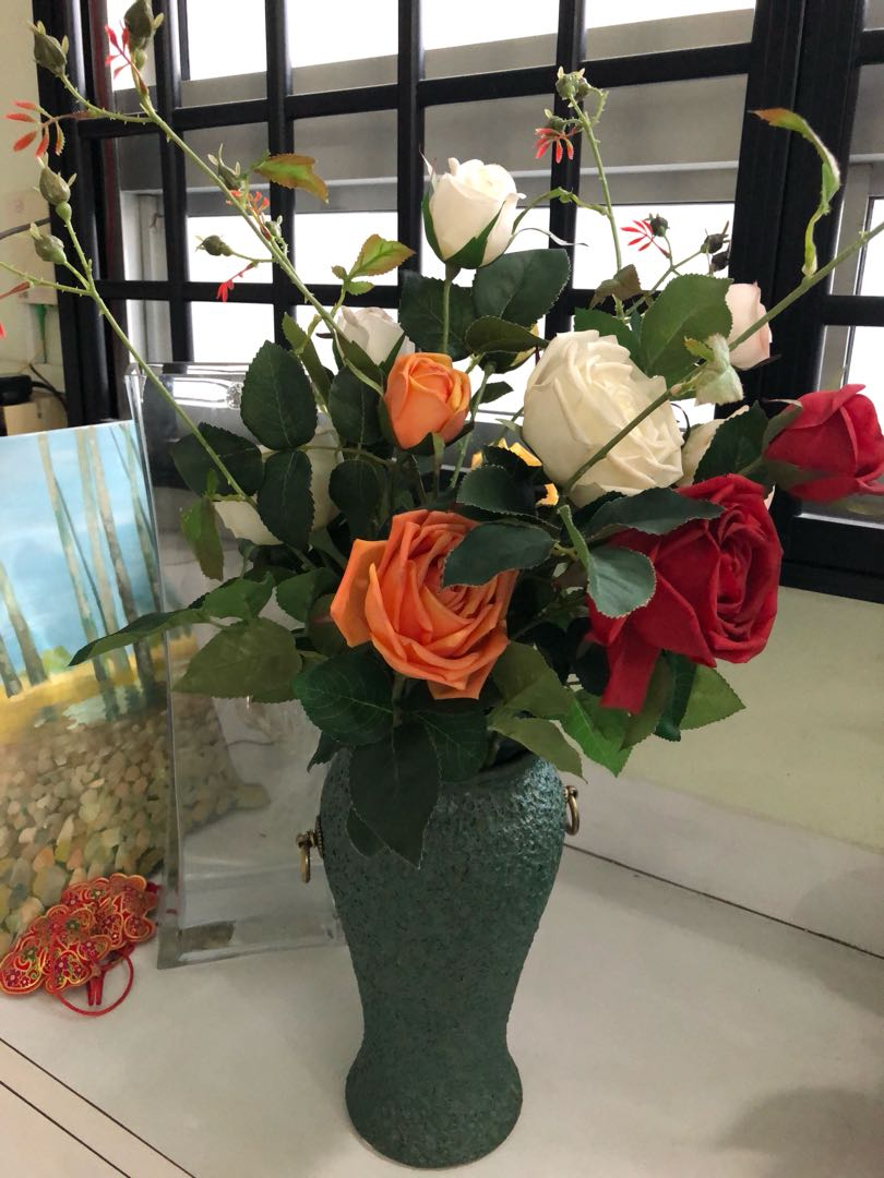 Artificial Flowers With Crude Pottery Vase Gardening Flowers