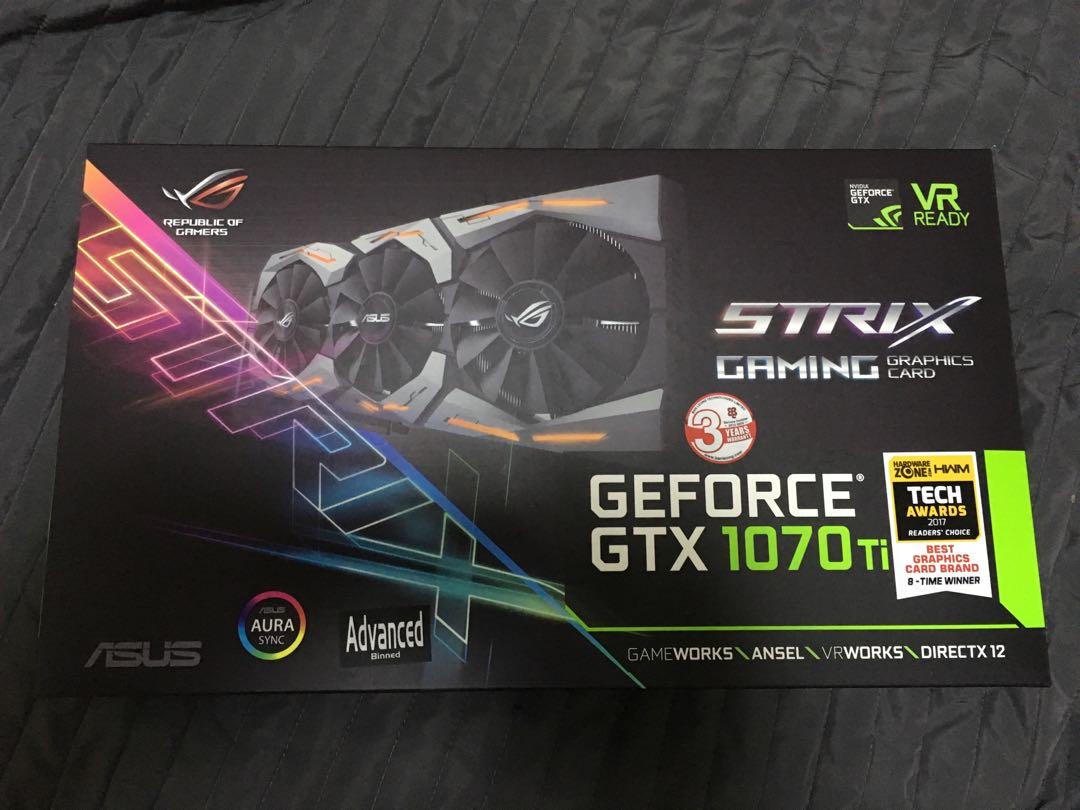 Asus ROG Strix GTX GeForce 1070Ti Advanced edition 8GB GDDR5 with Aura sync  (VR & 4K gaming)