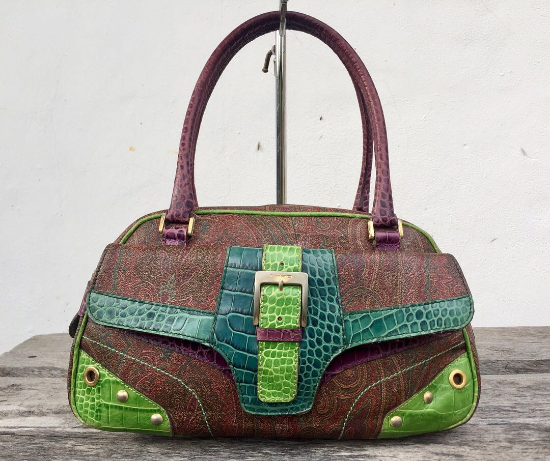 76be733bf48a5 Authentic Etro Milano Paisley Croc Embossed Multicolour Leather Tote Bag,  Women's Fashion, Bags & Wallets on Carousell