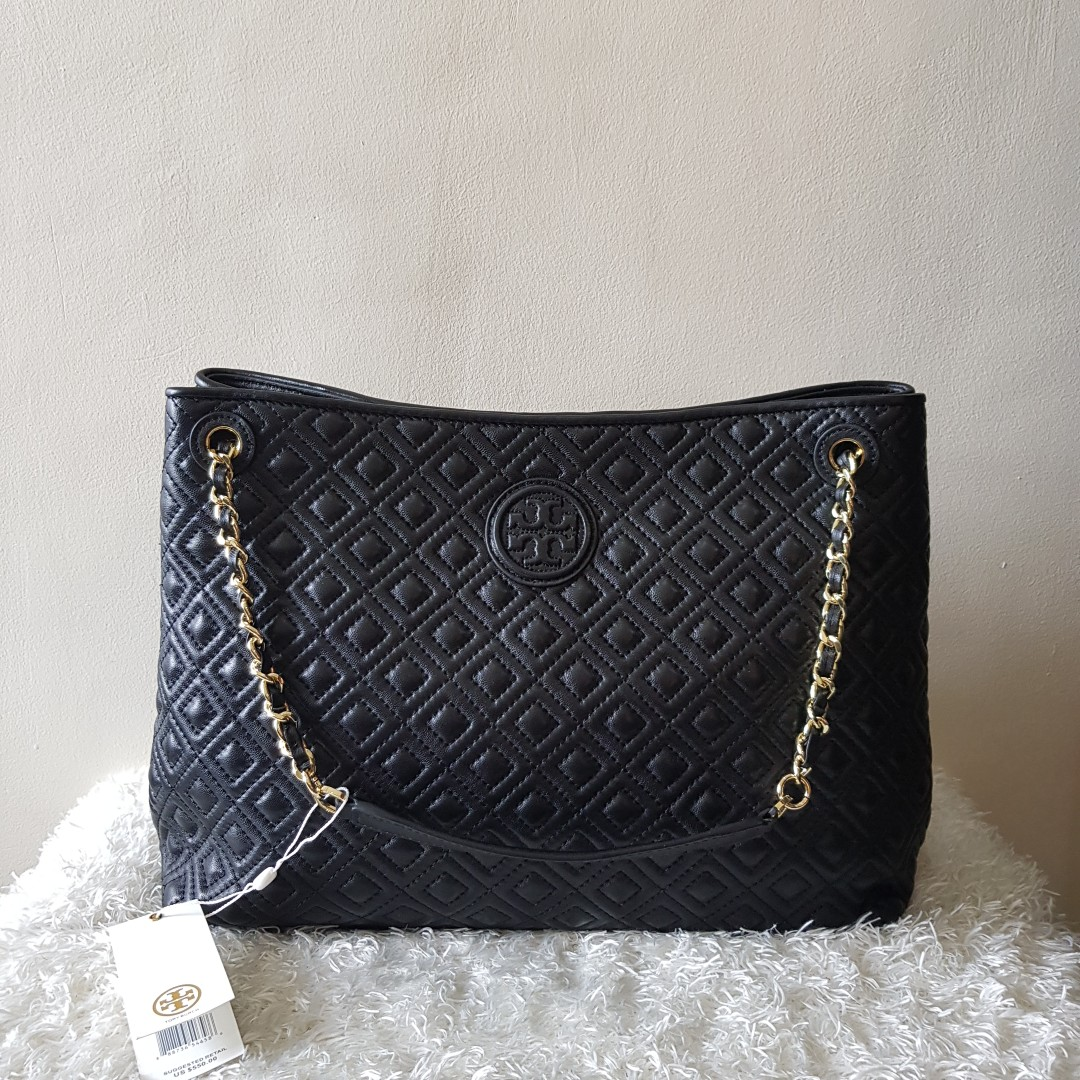 Authentic Tory Burch Marion Quilted Chain Tote Shouder Bag Womens