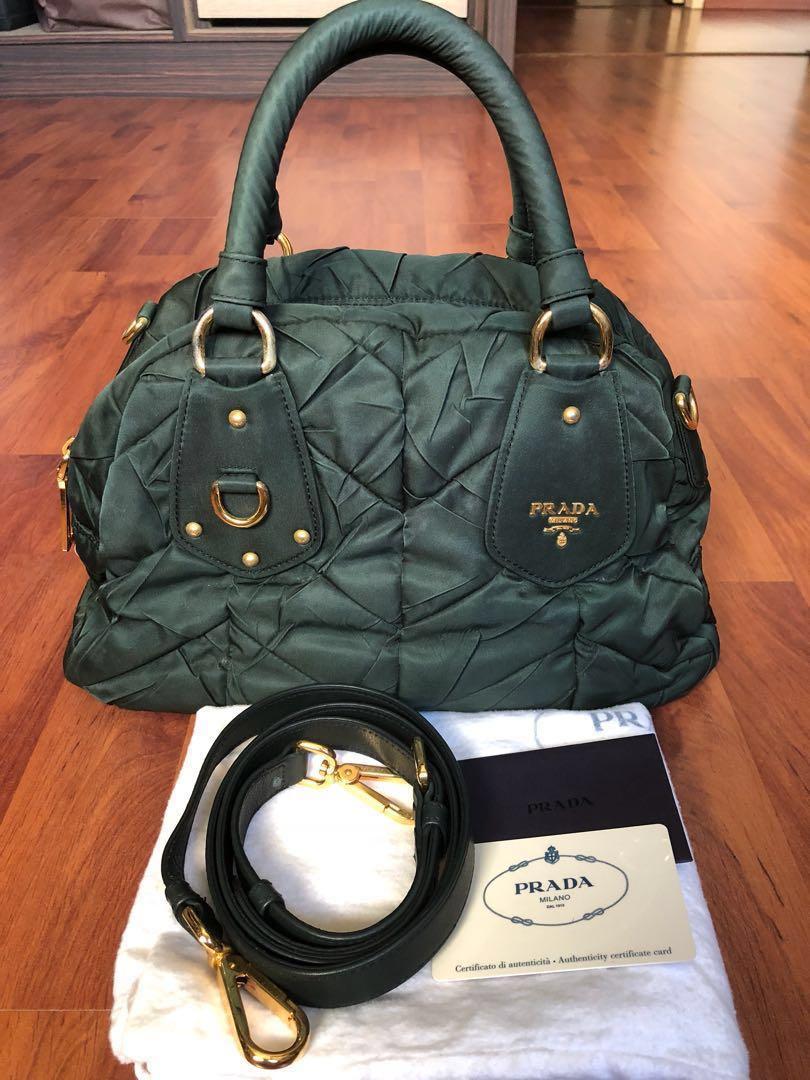 19fdb6dd662a55 BEST DEAL! Prada Tessuto Bag in Deep Green, Women's Fashion, Bags ...