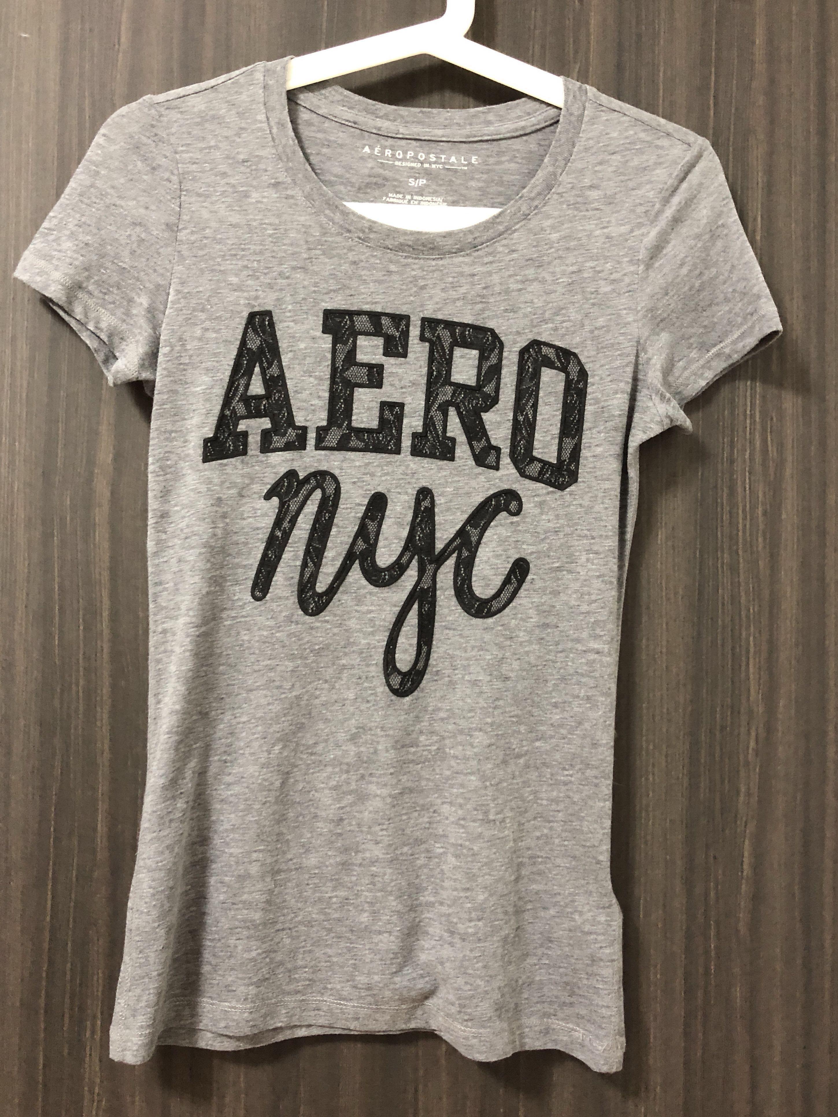 1dc4d2d79d1ca8 BN Aeropostale nyc Lace Wordings Tee in Grey, Women's Fashion ...