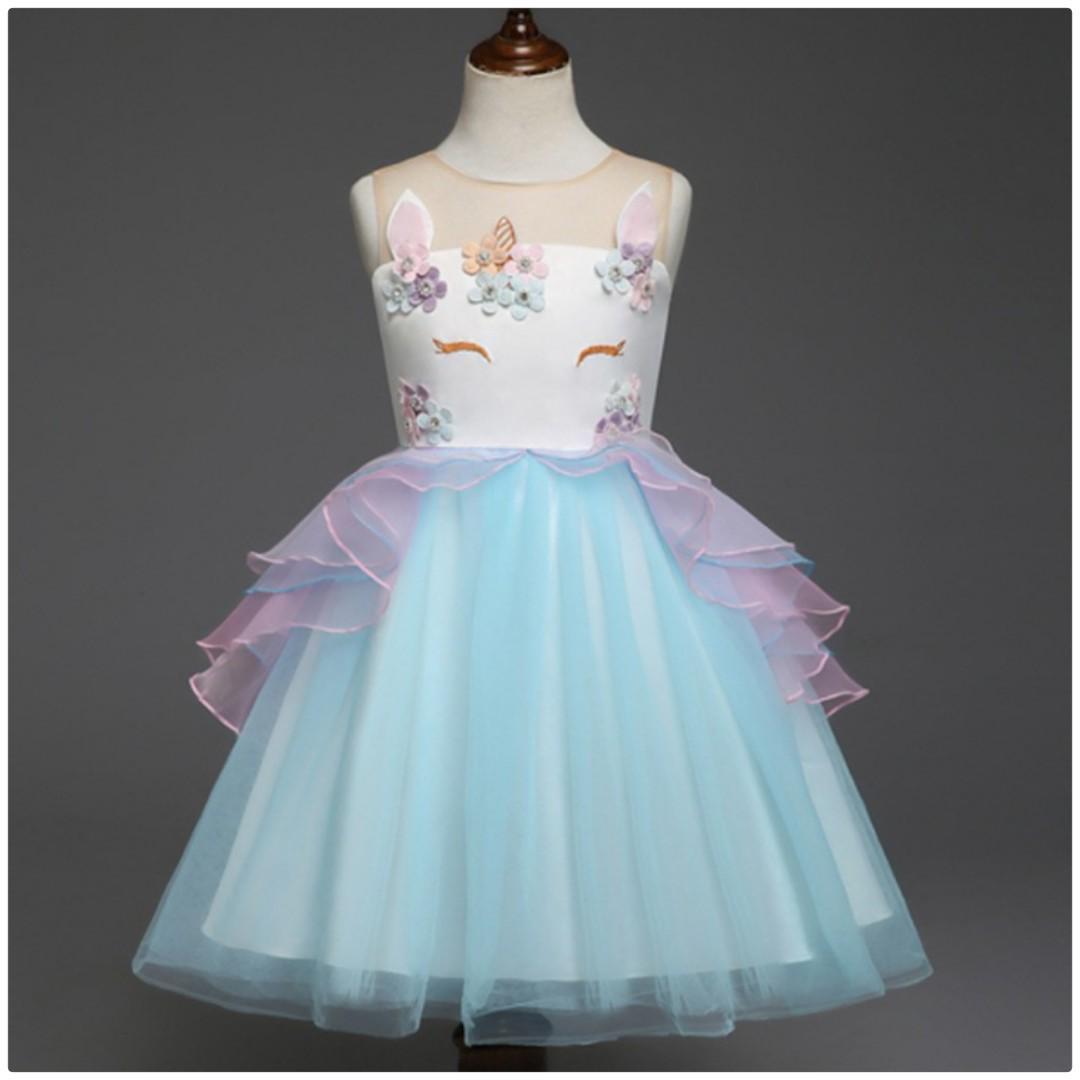 Girl Unicorn Party Dress [ Pre Order ] -- Blue