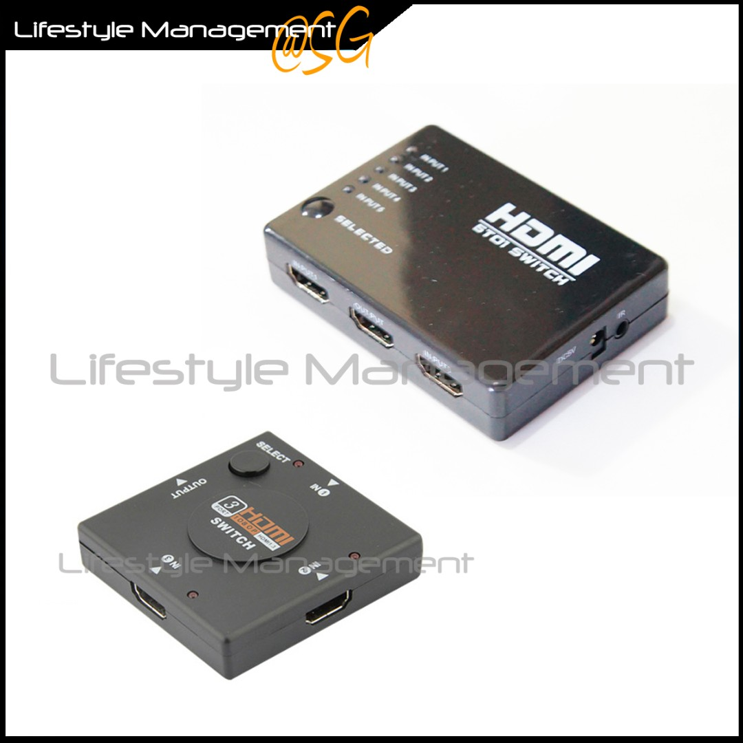 Hdmi 5 3 In To 1 Out Port Switch Hub Switcher Adapter Box Hard Disk Selector Photo